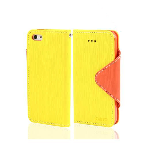 Yellow/ Orange Exclusive CellLine Faux Leather Diary Flip Case w/ ID Slots & Bill Fold for Apple iPhone 5/5S
