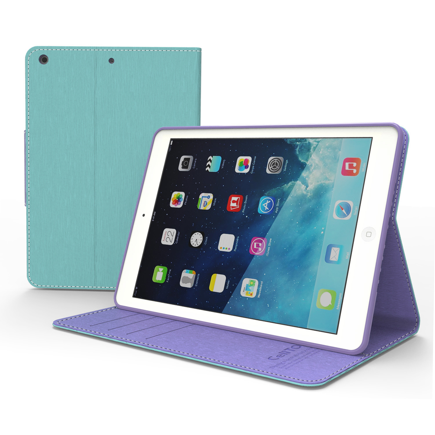 Mint/ Lavender CellLine Faux Leather Diary Flip Case w/ ID Slots, Bill Fold, & Magnetic Closure for Apple iPad 5