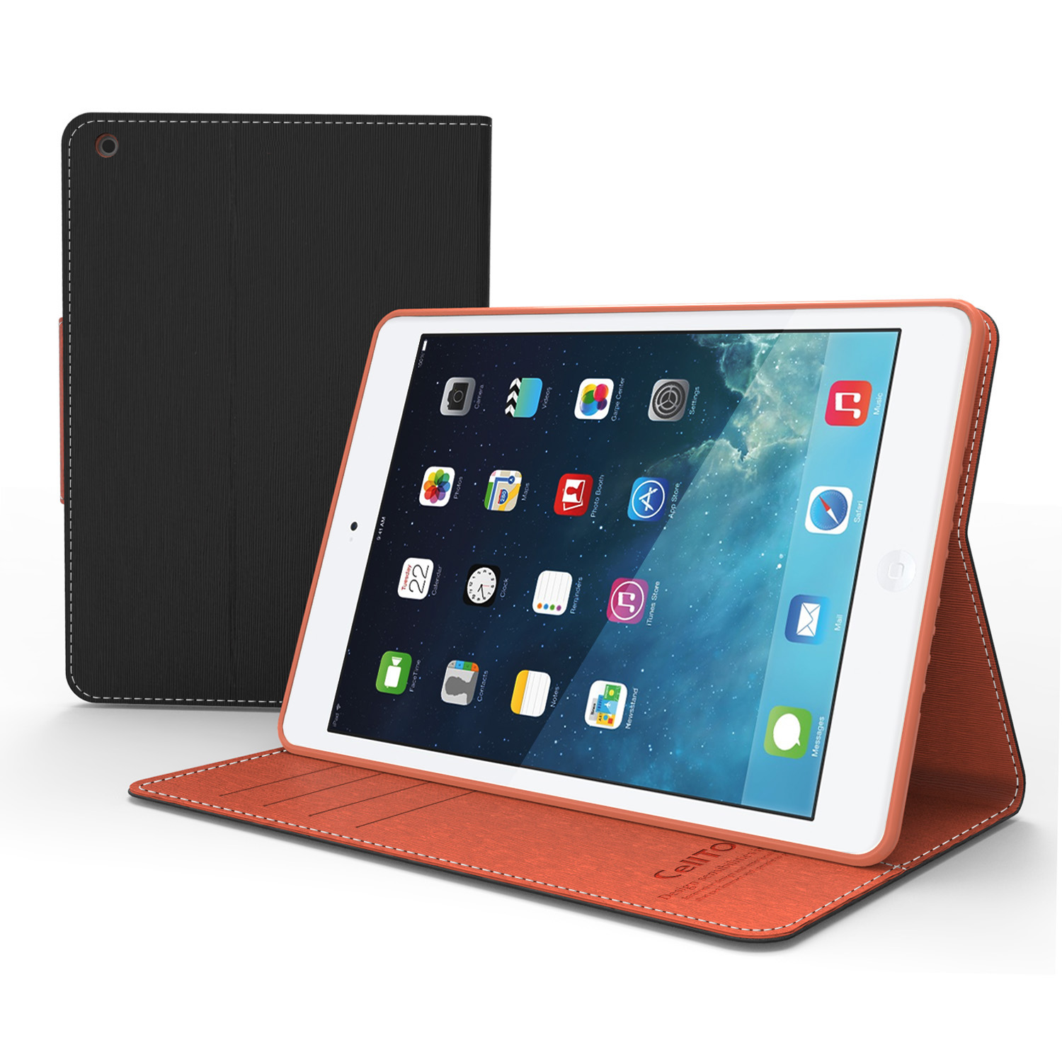 Black/ Brown CellTo Faux Leather Diary Flip Case w/ ID Slots, Bill Fold, Magnetic Closure for Apple iPad Mini 2