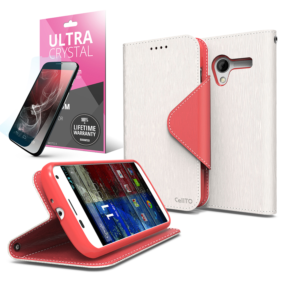 White/ Hot Pink CellLine Faux Leather Diary Flip Case w/ ID Slots, Bill Fold, Magnetic Closure & Free Screen Protector for Motorola Moto X