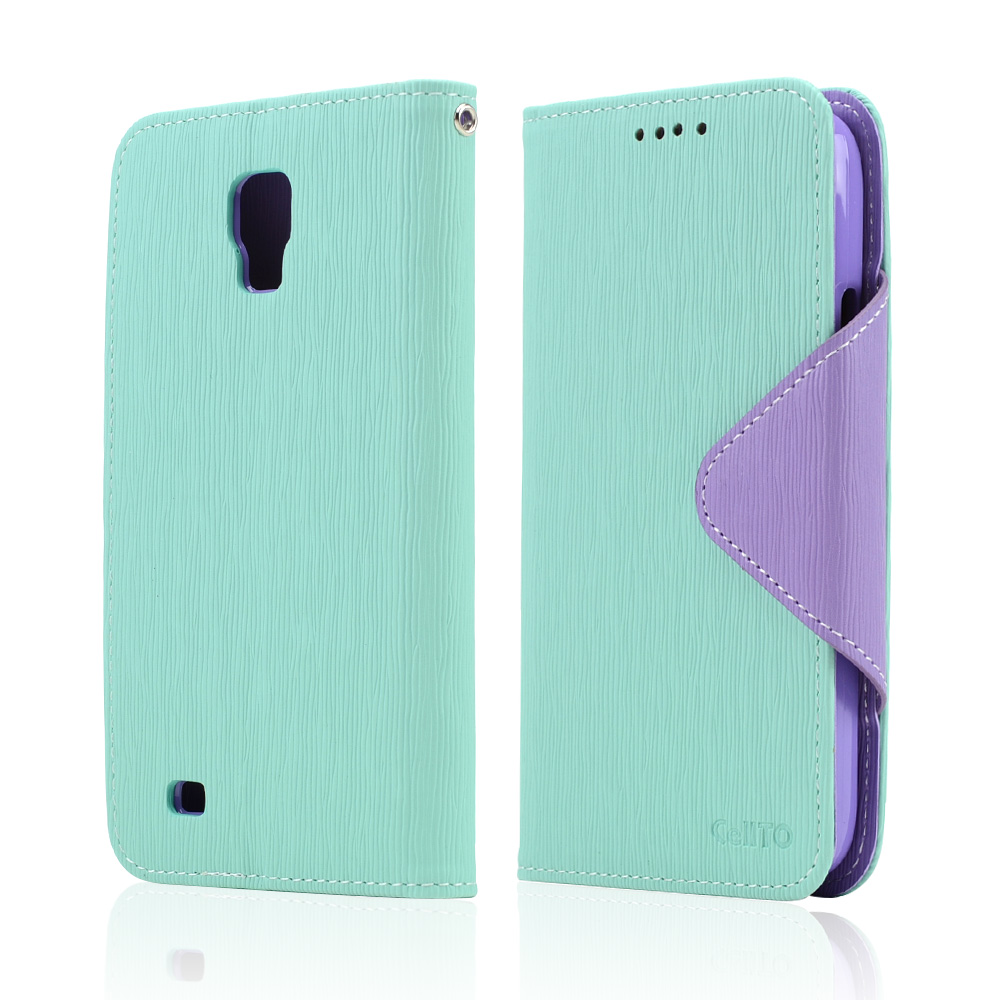 Mint/ Lavender CellLine Faux Leather Diary Flip Case w/ Magnetic Closure, ID Slots, Bill Fold + Free Screen Protector for Samsung Galaxy S4 Active