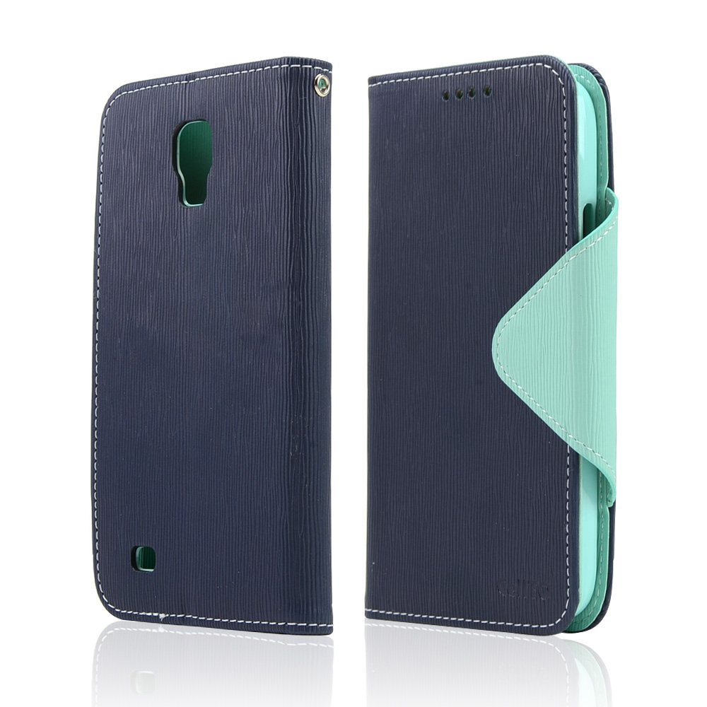 Navy/ Mint CellLine Faux Leather Diary Flip Case w/ Magnetic Closure, ID Slots, Bill Fold + Free Screen Protector for Samsung Galaxy S4 Active