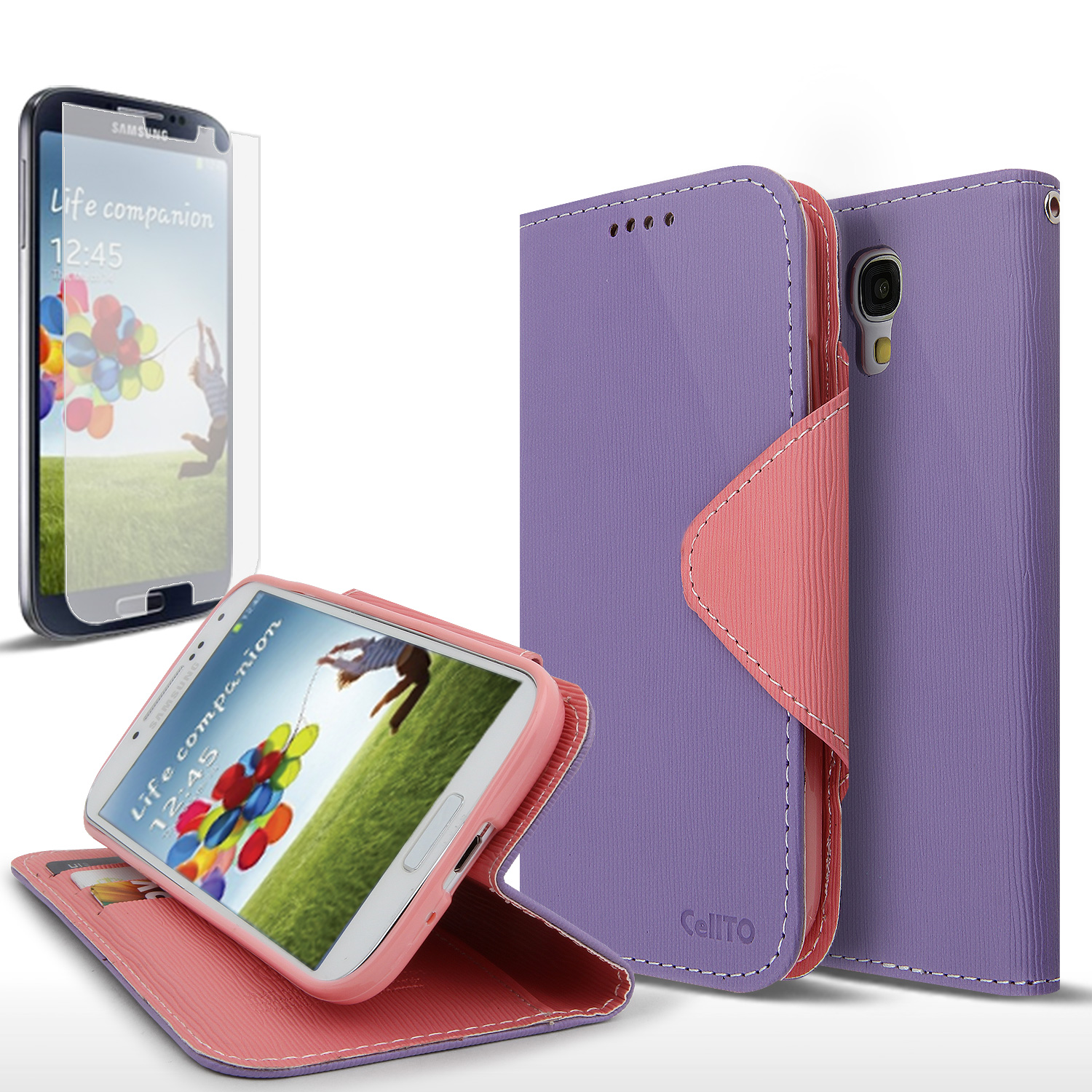 Lavender/ Pink Exclusive AccessoryGeeks Faux Leather Diary Flip Case w/ ID Slots & Bill Fold + Free Screen Protector for Samsung Galaxy S4