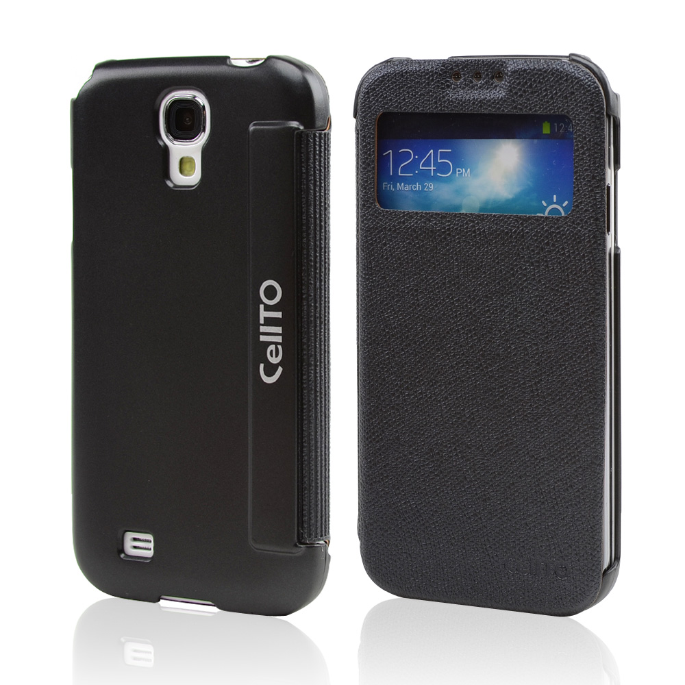 Black CellLine S-View Diary Flip Cover for Samsung Galaxy S4