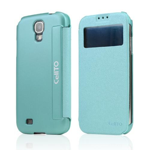 Dark Mint CellLine S-View Diary Flip Cover w/ Free Screen Protector for Samsung Galaxy S4