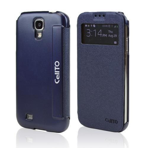 Navy Blue CellLine S-View Diary Flip Cover w/ Free Screen Protector for Samsung Galaxy S4
