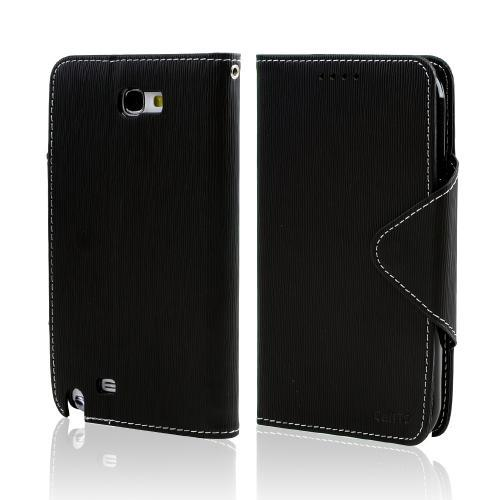 Black CellLine Faux Leather Diary Flip Case w/ ID Slots, Bill Fold, & Magnetic Closure for Samsung Galaxy Note 2