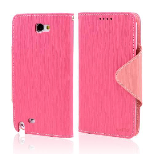 Hot Pink/ Baby Pink Exclusive CellLine Faux Leather Diary Flip Case w/ ID Slots & Bill Fold for Samsung Galaxy Note 2