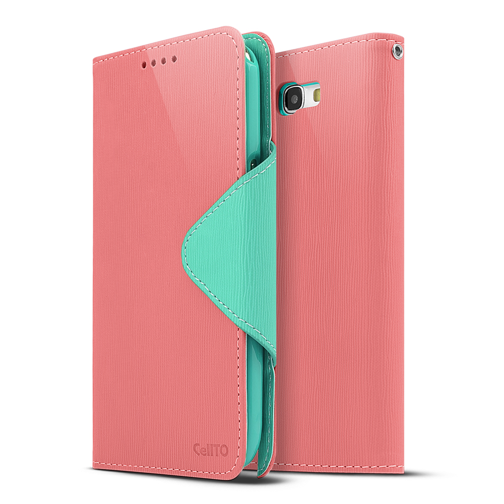 Light Melon/ Mint Exclusive CellLine Faux Leather Diary Flip Case w/ ID Slots & Bill Fold for Samsung Galaxy Note 2