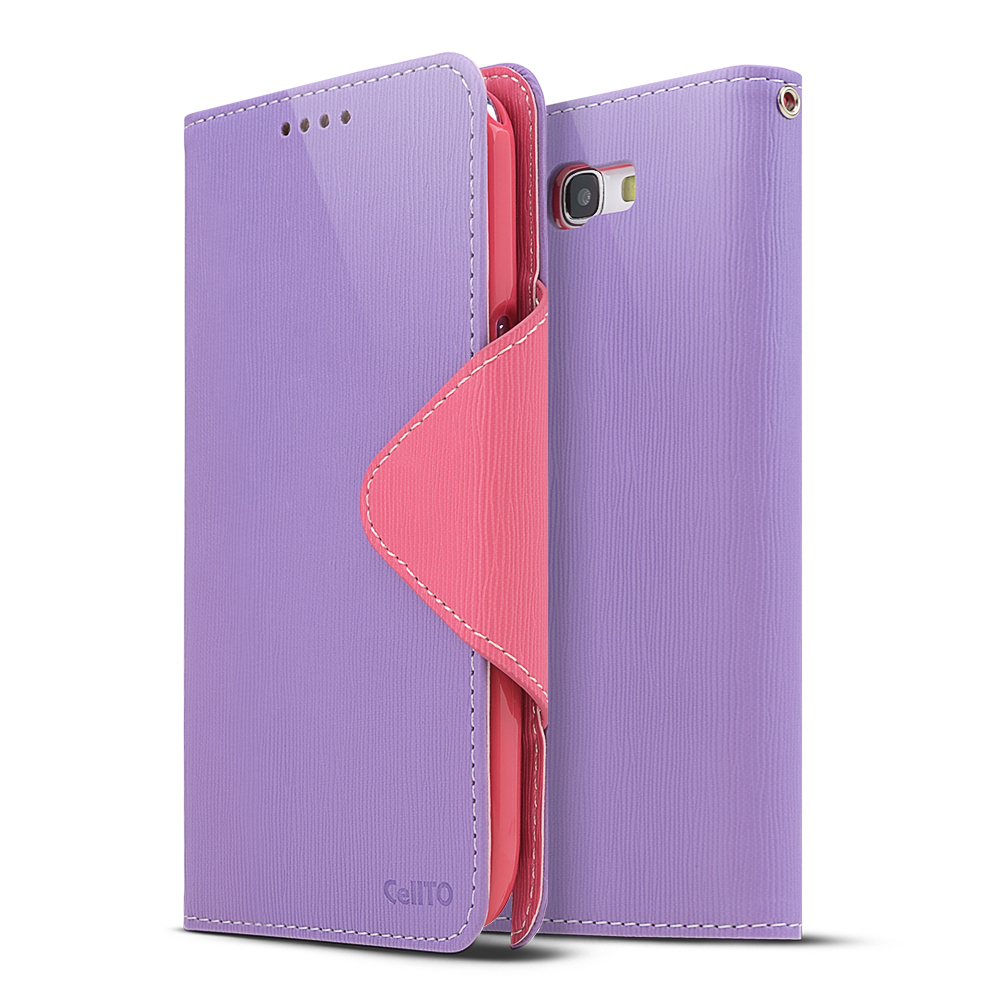 Lavender/ Baby Pink Exclusive CellLine Faux Leather Diary Flip Case w/ ID Slots & Bill Fold for Samsung Galaxy Note 2