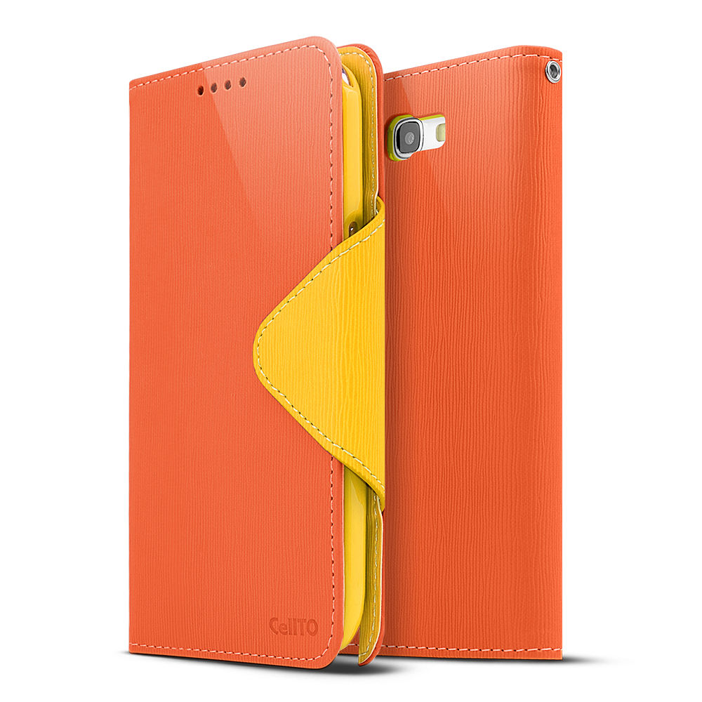 Orange/ Yellow Exclusive CellLine Faux Leather Diary Flip Case w/ ID Slots & Bill Fold for Samsung Galaxy Note 2