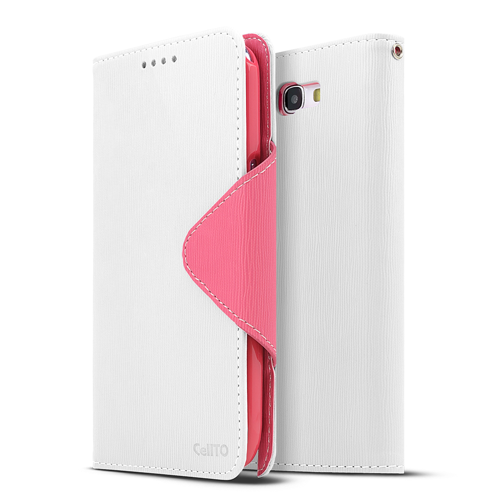 White/ Hot Pink CellLine Faux Leather Diary Flip Case w/ ID Slots, Bill Fold, & Magnetic Closure for Samsung Galaxy Note 2