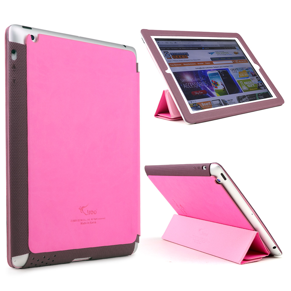 Hot Pink/ Maroon iRoo LS-Series Faux Leather Slide-In Case w/ Smart Cover for Apple iPad 3/4