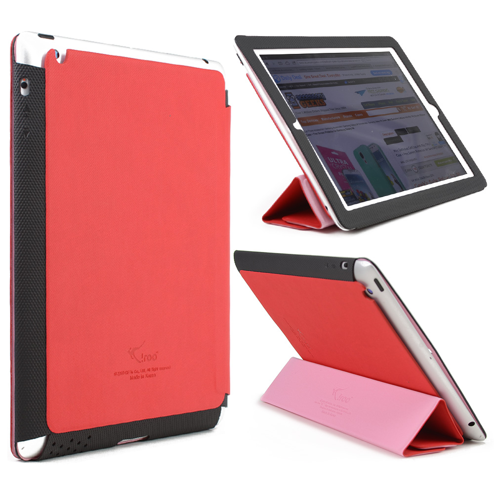 Red/ Black iRoo LS-Series Faux Leather Slide-In Case w/ Smart Cover for Apple iPad 3/4