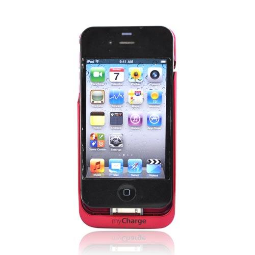 Original Powermat myCharge Apple iPhone 4S, AT&T/Verizon iPhone 4 Battery Charging Case, MAC4-1500FPK - Hot Pink (1500mAh)