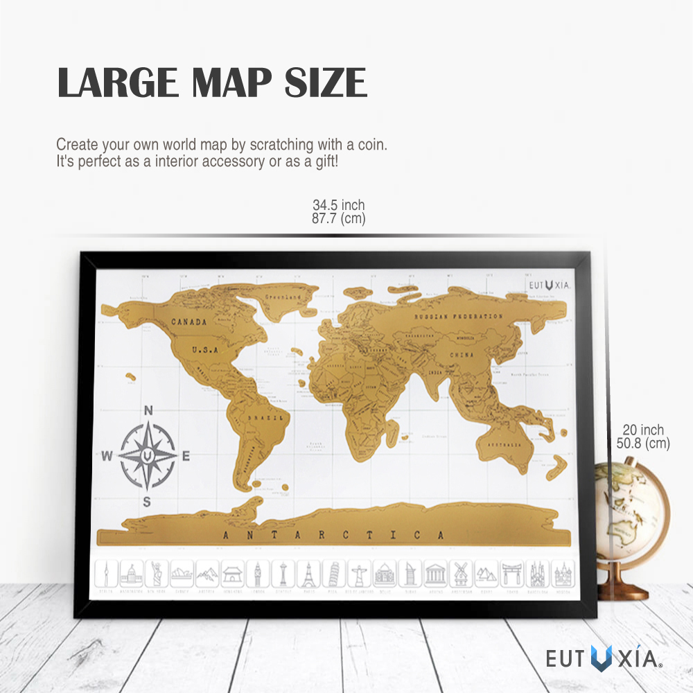 Accessorygeeks eutuxia travel scratch world map 34x20 inch map is an ideal gift for people who love to travel and explore the world the scratch off world map will motivate you to get out of your comfort zone and gumiabroncs Choice Image