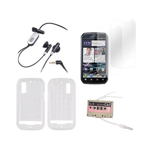 Motorola Photon 4G Essential Bundle Package w/ Clear Crystal Silicone Case, 2 Pack Screen Protector, Samsung Headset, & Fred & Friends Cassette Cord Organizer