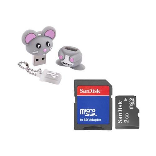 Memory Storage Essential Bundle Package w/ SanDisk 2GB Micro SD Memory Card & EMTEC 4GB Gray Mouse Flash Drive