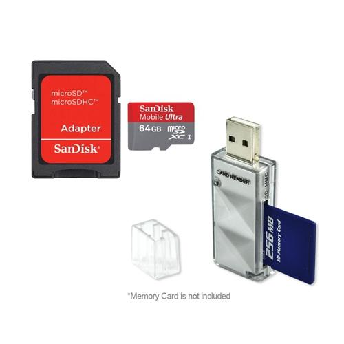 Original Sandisk 64GB Micro SDXC Memory Card w/SD Adapter & Memory Card Reader Combo