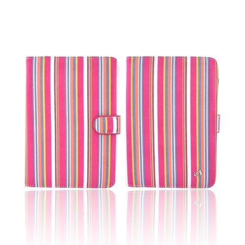Original Kroo USA Amazon Kindle 3 Hard Notebook Cover Case w/ Pen Holder, MDK3ECM2 - Pink/Yellow/Blue Stripes