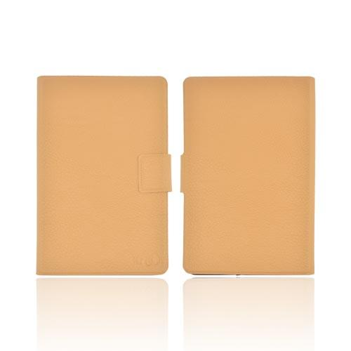 Original Kroo USA Amazon Kindle Fire DASH Leather Case w/ Slim Adhesive Fit, MDKFDLN1 - Tan