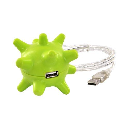 Universal Huggable 3 USB Hub Port w, USB extension cable – Green Spiky Ball
