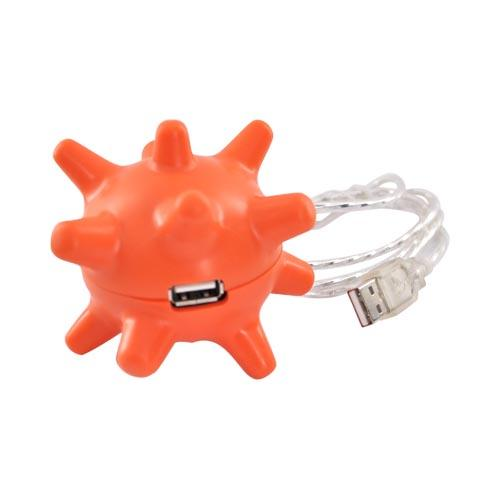 Universal Huggable 3 USB Hub Port w, USB extension cable – Orange Spiky Ball