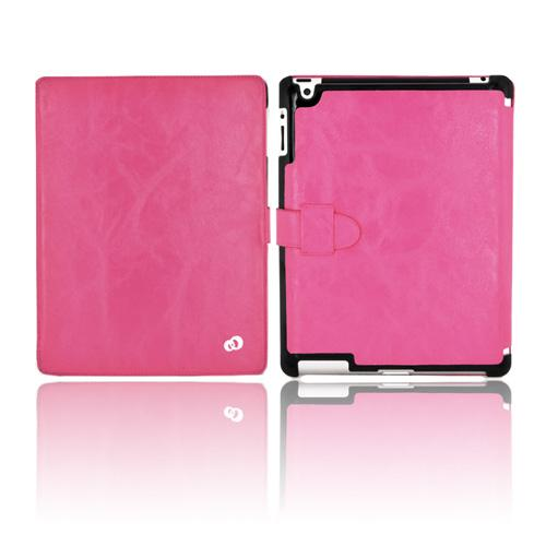 Original Kroo Apple iPad 2/ New iPad Tri-Pad Shell Leather Stand Case w/ Leather Strap Closure - Hot Pink