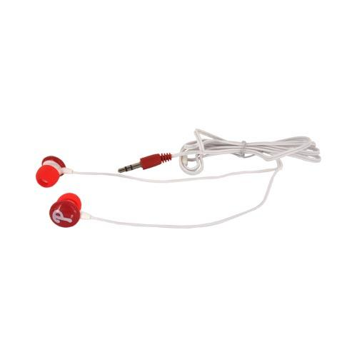 Original iHip Universal MLB Licensed Philadelphia Phillies Noise Isolating Earbuds (3.5mm), MLF10169PHL - Red/ White
