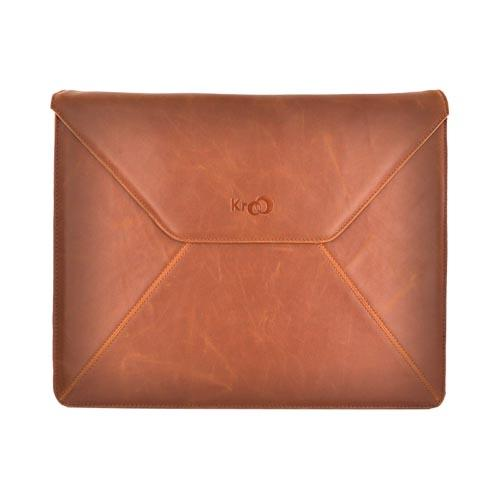 "Original Kroo 13"" Notebook Leather Envelope Case w/ Snap Closure, MN13ELN1 - Brown"