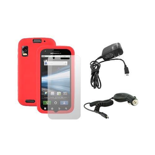 Motorola Atrix 4G Essential Red Skin Case, Screen Protector, Car and Travel Charger Bundle