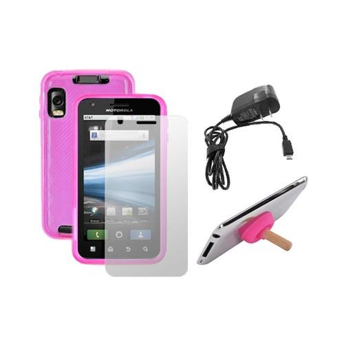 Motorola Atrix 4G Pink Argyle Pink Crystal Skin Case, Screen Protector, Plunger Stand, Travel Charger Bundle