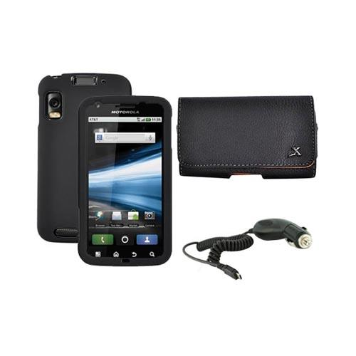 Motorola Atrix 4G Work Black Hard Case, Leather Pouch and Car Charger Bundle