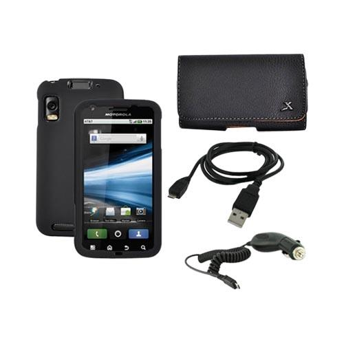 Motorola Atrix 4G Work Black Hard Case, Leather Pouch, Car Charger, and Data Cable Bundle