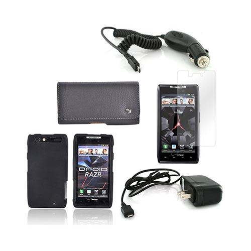 Motorola Droid RAZR Essential Bundle Package w/ Black Rubberized Hard Case, Screen Protector, Leather Pouch, Car & Travel Charger
