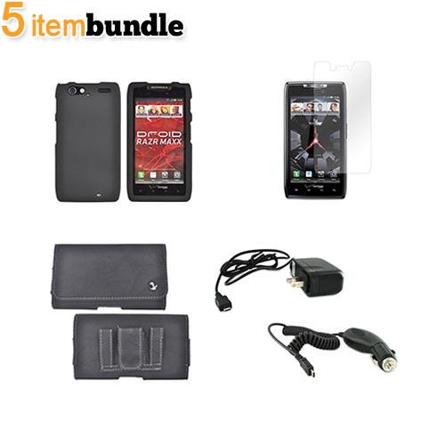 Motorola Droid RAZR MAXX Essential Bundle Package w/ Black Rubberized Hard Case, Screen Protector, Leather Pouch, Car & Travel Charger