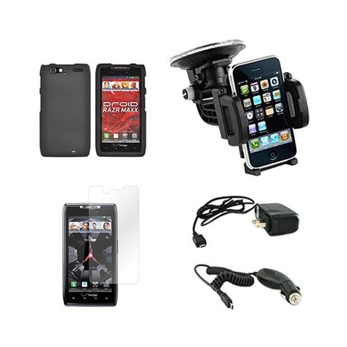 Motorola Droid RAZR MAXX Essential Bundle Package w/ Black Rubberized Hard Case, Screen Protector, Car & Travel Charger, Windshield Car Mount