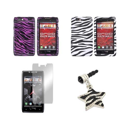 Motorola Droid RAZR MAXX Zebra Bundle w/ Black & White Zebra Hard Case, Purple & Black Zebra Hard Case, Black & Silver Zebra Stopple, & Mirror Screen Protector