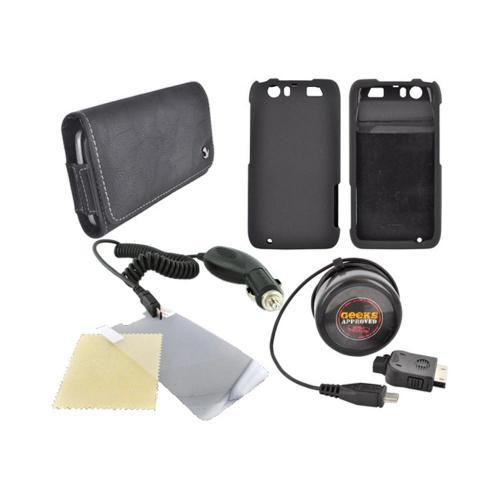 Motorola Atrix HD Essential Bundle Package w/ Black Rubberized Hard Case, Screen Protector, Leather Pouch, Car & Travel Charger