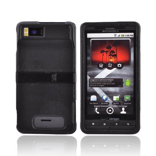 Original Verizon Motorola Droid X MB810 Leather Molded Hard Case w/ Stand, MOTDRDXLBK - Black
