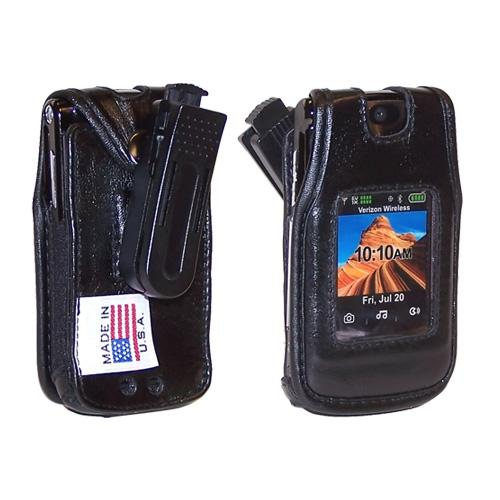 Original TurtleBack Premium Motorola RAZR2 V9 Leather Case w/ Swivel Belt Clip - Black