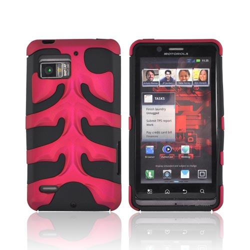 Original Nex Motorola Droid Bionic XT875 Rubberized Hard Fishbone on Silicone Case w/ Screen Protector, MOTXT875FB05 - Rose Pink/ Black