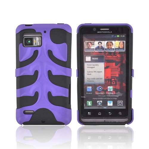 Original Nex Motorola Droid Bionic XT875 Rubberized Hard Fishbone on Silicone Case w/ Screen Protector, MOTXT875FB08 - Purple/ Black