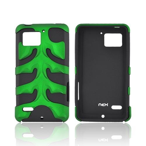 Original Nex Motorola Droid Bionic XT875 Rubberized Hard Fishbone on Silicone Case w/ Screen Protector, MOTXT875FB10 - Green/ Black