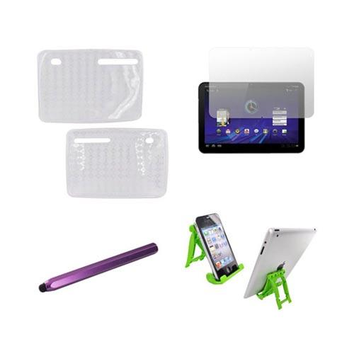 Motorola Xoom Essential Bundle Package w/ Clear Crystal Silicone Case, Screen Protector, Green Lime 3Feet Stand & Purple Metal Pen Stylus