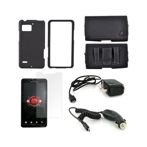 Motorola Droid Bionic Essential Bundle Package w/ Black Rubberized Hard Case, Screen Protector, Leather Pouch, Car & Travel Charger