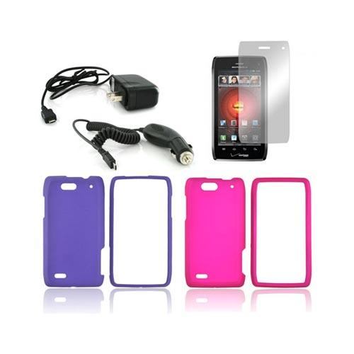 Motorola Droid 4 Essential Girly Bundle Package w/ Hot Pink & Purple Rubberized Hard Case, Mirror Screen Protector, Car & Travel Charger