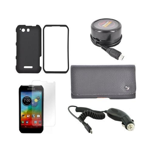 Motorola Photon Q 4G LTE Essential Bundle Package w/ Black Rubberized Hard Case, Screen Protector, Leather Pouch, Car & Travel Charger
