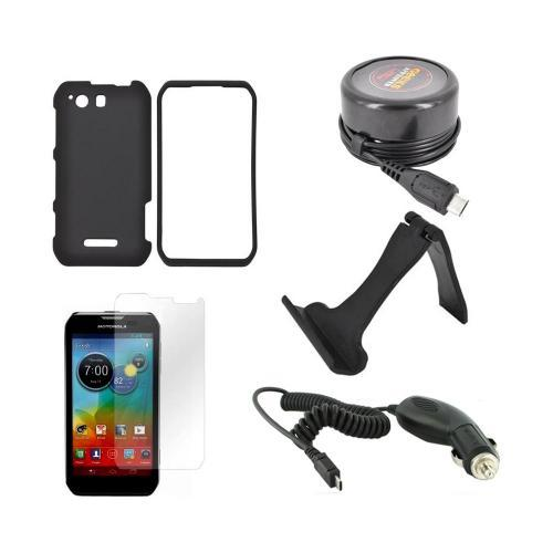 Motorola Photon Q 4G LTE Essential Bundle Package w/ Black Rubberized Hard Case, Screen Protector, Portable Stand, Car & Travel Charger