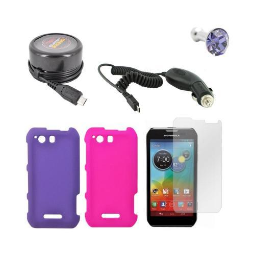 Motorola Photon Q 4G LTE Essential Girly Bundle Package w/ Hot Pink & Purple Rubberized Hard Case, Anti-Glare Screen Protector, Purple Gem Stopple, Car & Travel Charger